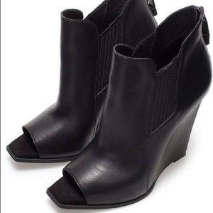 Zara Peep Toe Wedge Ankle Bootie